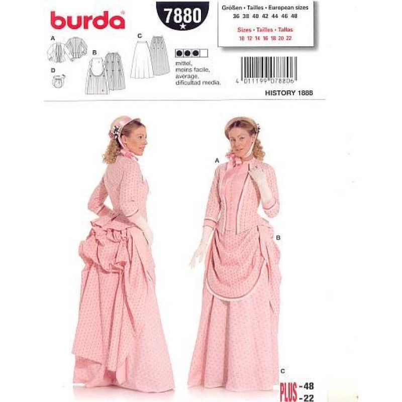 Burda Historical 1888 Victorian Bustle Skirt Dress Costume Pattern ...