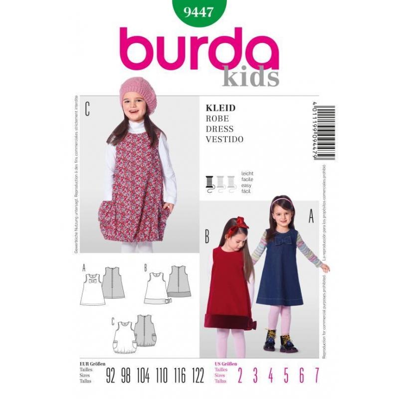 deutsches Schnittmuster von Burda für ein Mädchenkleid in 3 ...