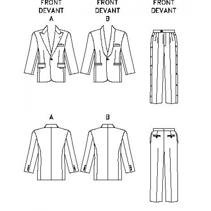 Male Fashion Sewing Outlines