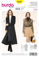 Sewing Pattern Burda 6845 coat, jacket size 10-20 (36-48)