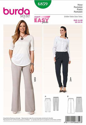 Sewing Pattern Burda 6859 pants size 18-34 (44-60)
