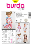 Sewing pattern Burda 8308 Dolls Size M 30-35cm and L 40-45cm
