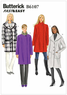 Schnittmuster Butterick 6107 Mantel Gr.Y XS-M 6-14...