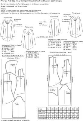 Schnittmuster pattern company 07778 Damensweater Gr. 34-48