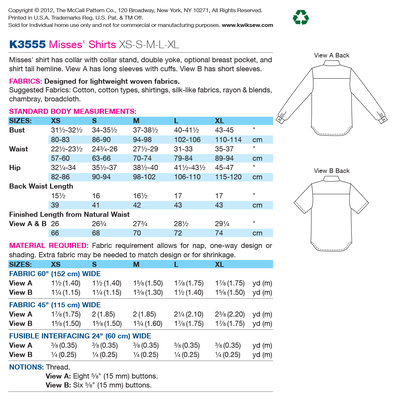 Schnittmuster KwikSew 3555 Bluse Gr. XS-XL 30-48