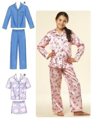 Schnittmuster KwikSew 3604 Pyjama Kinder XS-XL 4-14 (104-156)