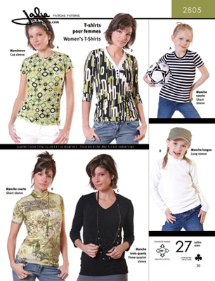 Sewing pattern Jalie 2805 Shirts Size 2-13 (92-155) and 4-22 (32-52)