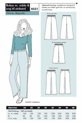 Sewing Pattern Onion 4030 Pants Size 34-46