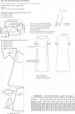 Schnittmuster pattern company 02730 Damenkleid in A-Linie Gr. 34-48