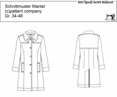 Schnittmuster pattern company 05768 einreihiger Trenchcoat Gr. 34-48