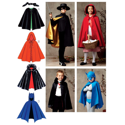 Sewing pattern KwikSew 3723 Unisex Childrens Capes XS-S-M-L-XL