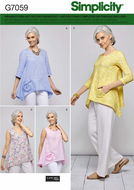 Schnittmuster Simplicity 7059 weite Designer Zipfelbluse...