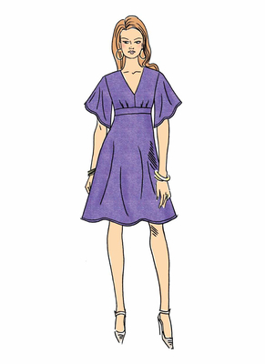 Schnittmuster Butterick 6623 Damenkleid mit hoher Taille Gr. 32-48