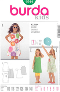 Sewing pattern Burda 9544 dress sizes 110-140 (5-10)