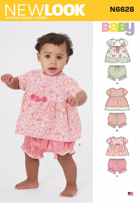 english paper sewing pattern NewLook 6628 babyclothes dresses and trousers NB L (DE 50 80)