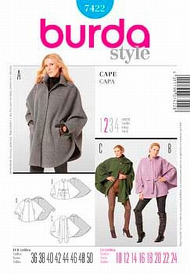 Sewing Pattern Burda 7422 cape sizes 36-50 (10-24)