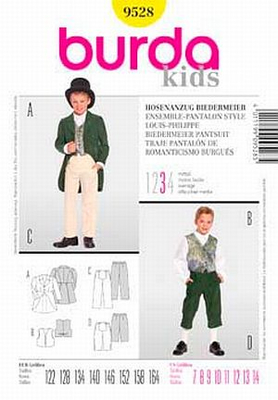Sewing Pattern Burda 9528 suit sizes 122-164 (7-14)