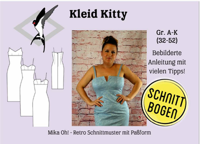 Schnittmuster aus Papier Mika Oh Kitty Retro Cocktailkleid Gr. A-K 32-52