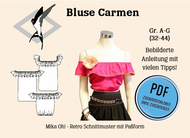 ebook Schnittmuster PDF Mika Oh Carmen Bluse Gr. A-N 32-58