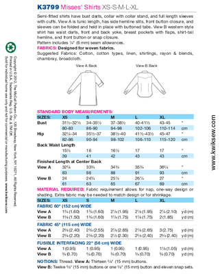 Schnittmuster KwikSew 3799 Bluse Gr. XS-XL 30-48