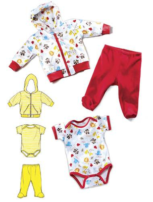 Schnittmuster KwikSew 3811 Baby XS-S-M-L-XL (56-80cm)