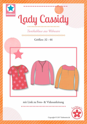 Schnittmuster aus Papier miaLuna Lady Cassidy Tunikabluse Gr. 32-46