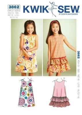 Schnittmuster KwikSew 3862 Kleid Kinder XS-XL 4-14 (104-156) bei ...