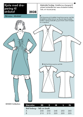 Sewing Pattern Onion 2038 dress size XS-XL