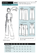 Sewing Pattern 4004 pants Onion size 34-46