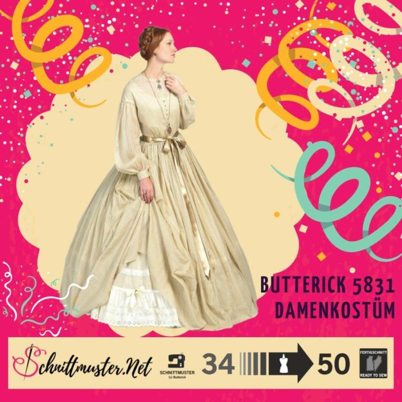Schnittmuster Butterick 5831 Historisches Kleid Bei