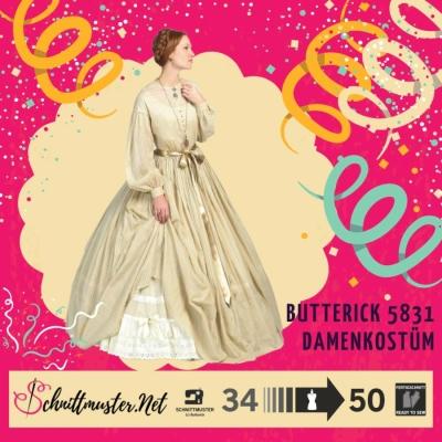 d602939e642d4 Schnittmuster Butterick 5831 historisches Kleid bei Schnittmuster ...