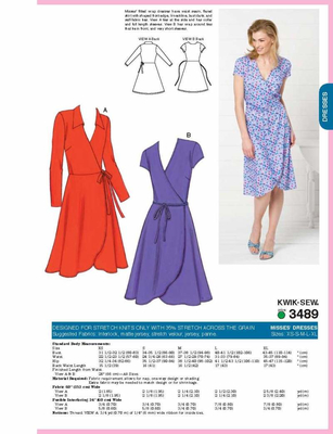 Sewing Pattern KwikSew 3489 Dress XS-S-M-L-XL