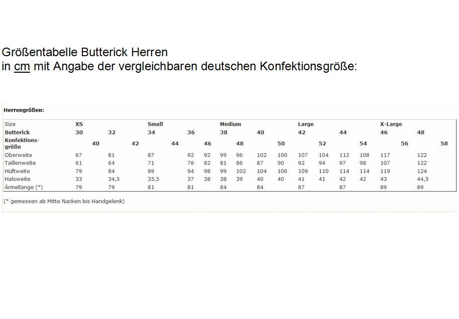 Maßtabelle Schnittmuster Butterick Herrengrößen 30, 32, 34, 36, 38, 40, 42, 44, 46, 48.
